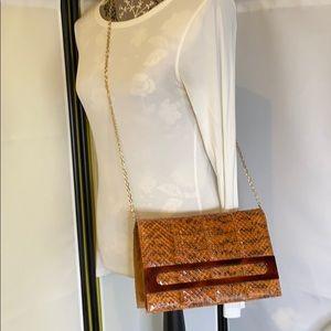 Vintage Brown Snakeskin Clutch Shoulder Bag